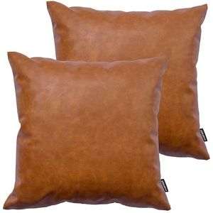 Faux Leather Throw Pillow Covers Set of 2 Brown